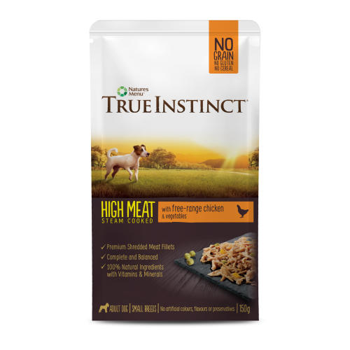 True Instinct High Meat Fillets Free Range Chicken Small Breed Adult Wet Dog Food Pouches