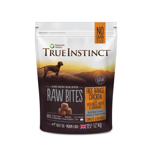 True Instinct Raw Bites Free Range Chicken Frozen Raw Adult Dog Food