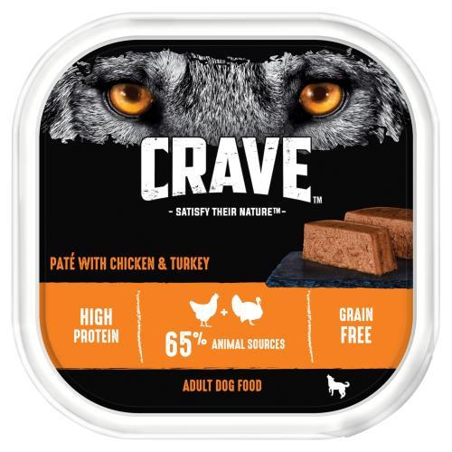 CRAVE Chicken & Turkey Adult Wet Dog Food Trays