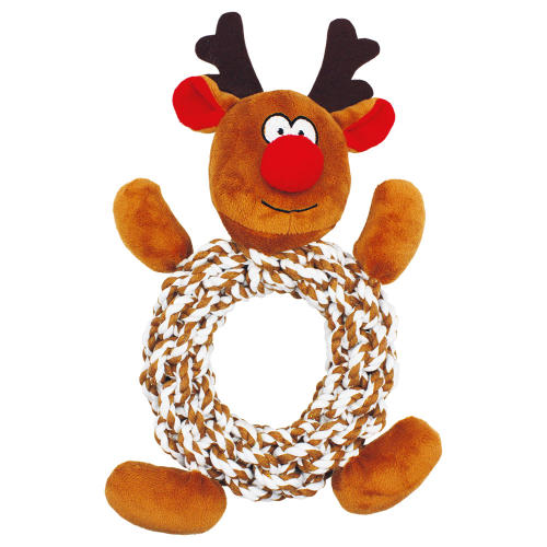 Happy Pet Knottie Ring Reindeer Christmas Dog Toy