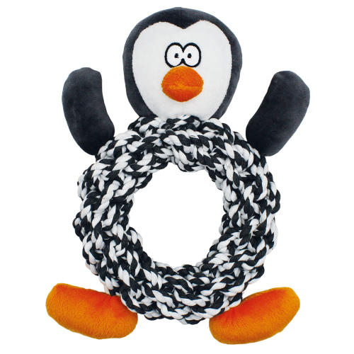Happy Pet Knottie Ring Penguin Christmas Dog Toy