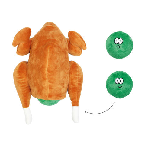 Happy Pet Christmas Roast Stuffed with Squeaky Sprouts Dog Toy