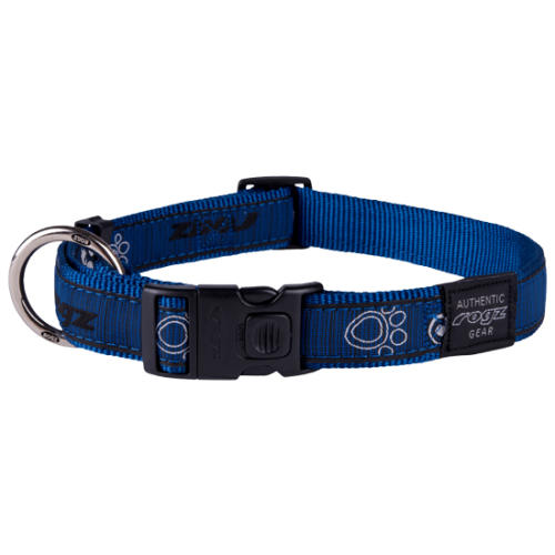 Rogz Fancy Dress Navy Paw Dog Collar