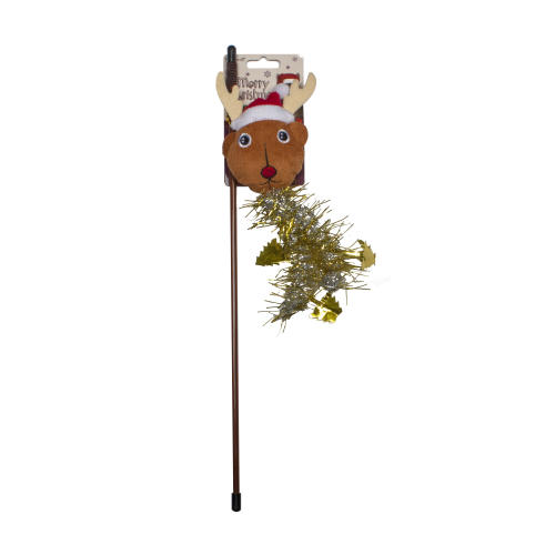 Merry Christmas Reindeer Teaser Wand Cat Toy