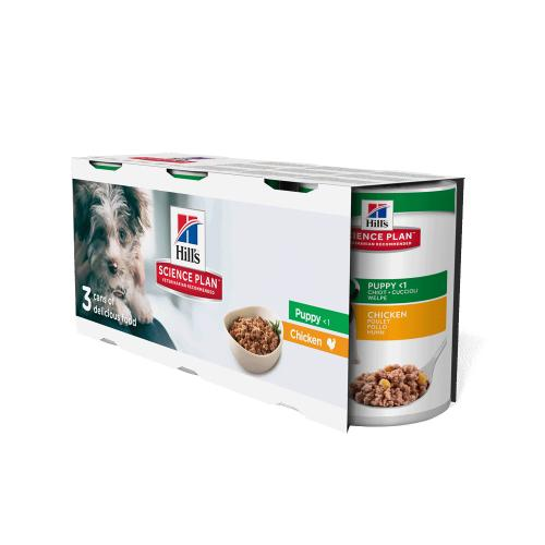 Hills Science Plan Trial Pack Chicken Puppy Wet Dog Food Tins