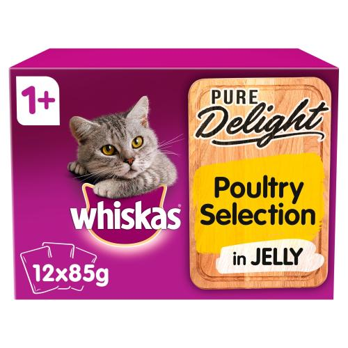 Whiskas 1+ Pure Delight Poultry Selection Wet Adult Cat Food Pouches