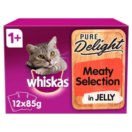 Whiskas 1+ Pure Delight Meaty Selection Wet Adult Cat Food Pouches