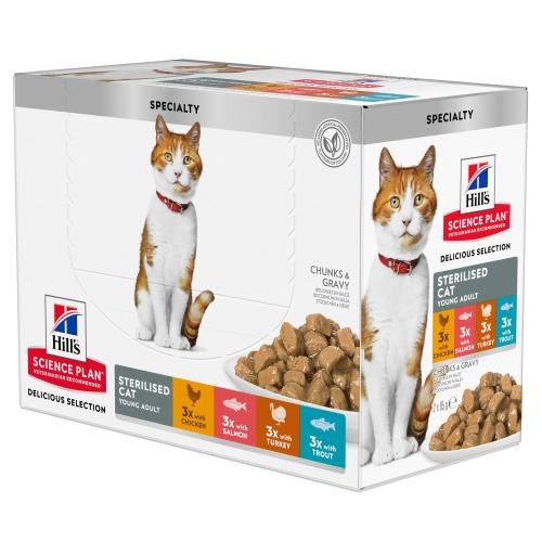 Hills Science Plan Adult Sterilised Cat Multipack Pouches Favourite Selection Wet Cat Food
