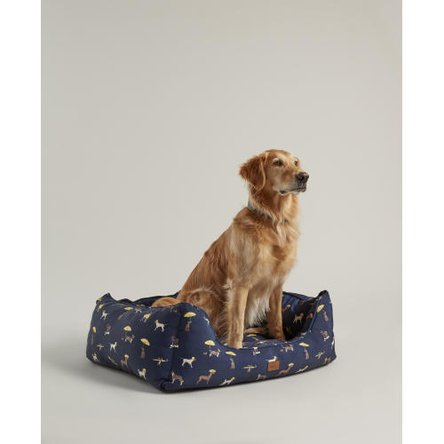 Joules Water-resistant Dog Print Square Dog Bed