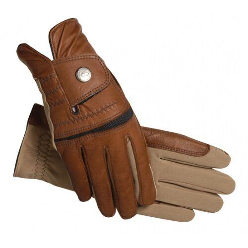 SSG Hybrid Riding Gloves in Brown & Tan