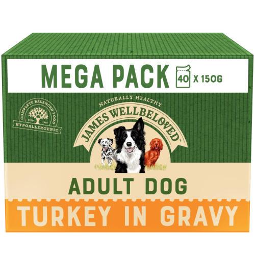 James Wellbeloved Turkey & Rice Adult Dog Pouches