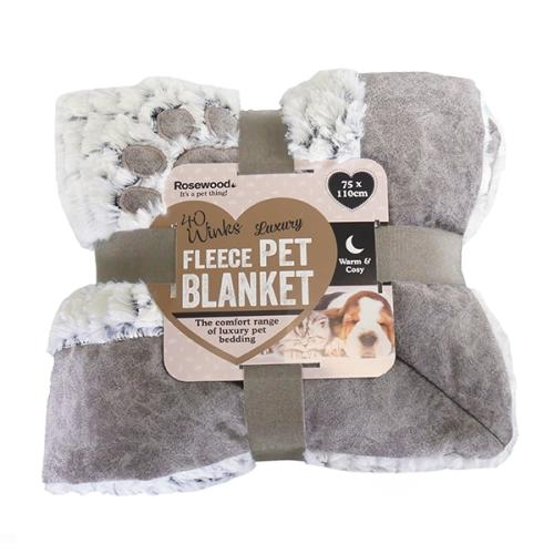 Rosewood Luxury Fleece Dog Blanket Grey