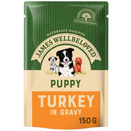 James Wellbeloved Turkey & Rice Puppy Dog Pouches