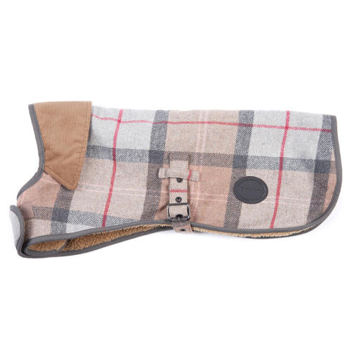 Barbour Wool Dog Coat in Taupe & Pink Tartan