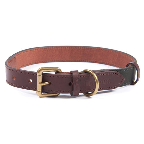 Barbour Wax Leather Dog Collar in Olive