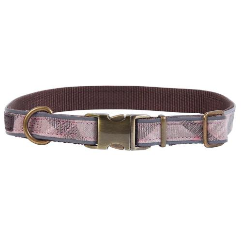 Barbour Reflective Dog Collar in Taupe & Pink Tartan
