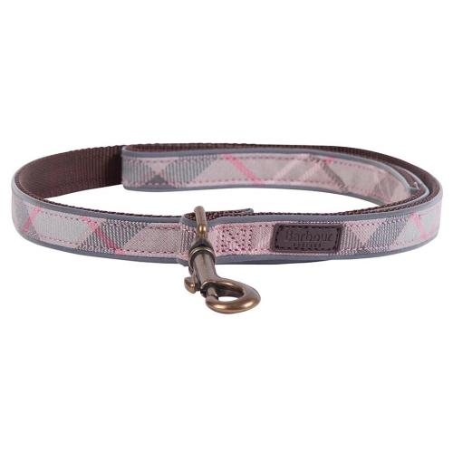 Barbour Reflective Dog Lead in Taupe & Pink Tartan
