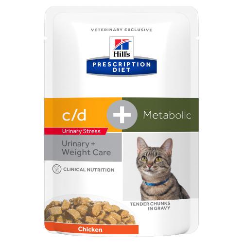 Hills Prescription Diet CD Urinary Stress + Metabolic Cat Food Chicken Pouches