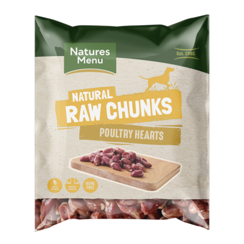 Natures Menu Natural Raw Chunk Poultry Hearts Raw Frozen Dog Food