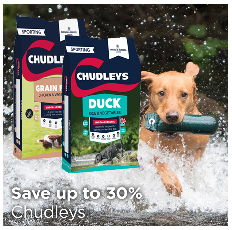 Save up to 30% on Chudleys grain free dog food