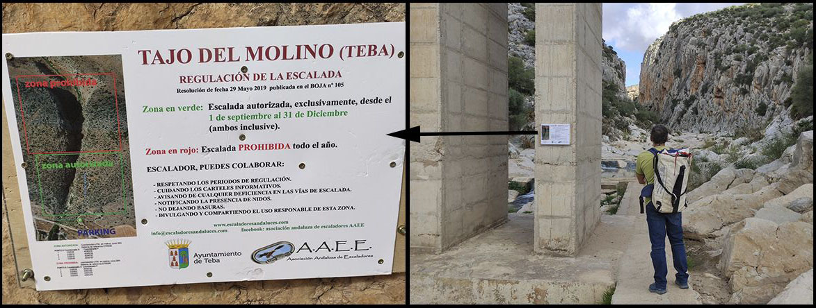 Cartel Colocado por la  Asociación Andaluza de Escaladores AAEE
