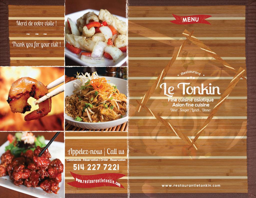 Carte de Menu du Restaurant Le Tonkin