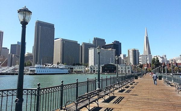 A long pier, looking back towards San Francisco