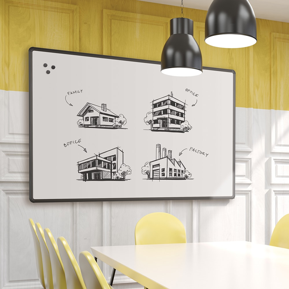 Porcelain Steel Whiteboard With Presidential Trim