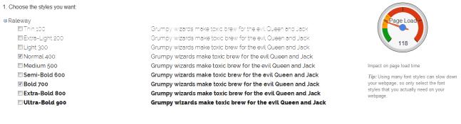 Google Web Font Variant Selection