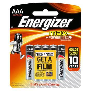 Energizer Max Alkaline AAA 8 Pack Batteries