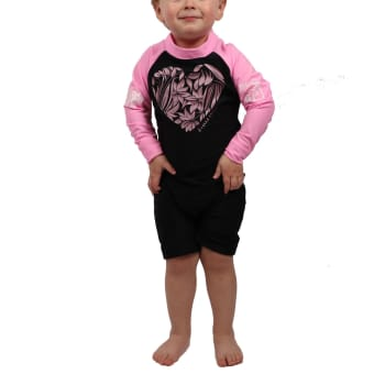 Second Skins Girls Floral Heart Long Sleeve Sunsuit (2-4) - Sold Out Online