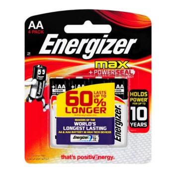 Energizer Max: AA- 4 Pack