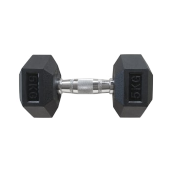 HS Fitness 5kg Rubber Hex Dumbbell