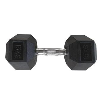 HS Fitness 15kg Rubber Hex Dumbbell