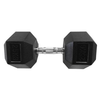HS Fitness 25kg Rubber Hex Dumbell