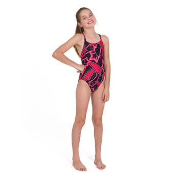 Speedo Girls Allover X Back Swim 1 Piece