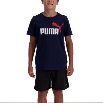 Puma Boys Essential 2 Colour Logo Tee