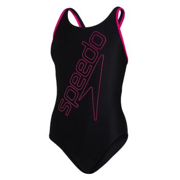 Speedo Girls Boom Logo Placement Flyback 1 Piece