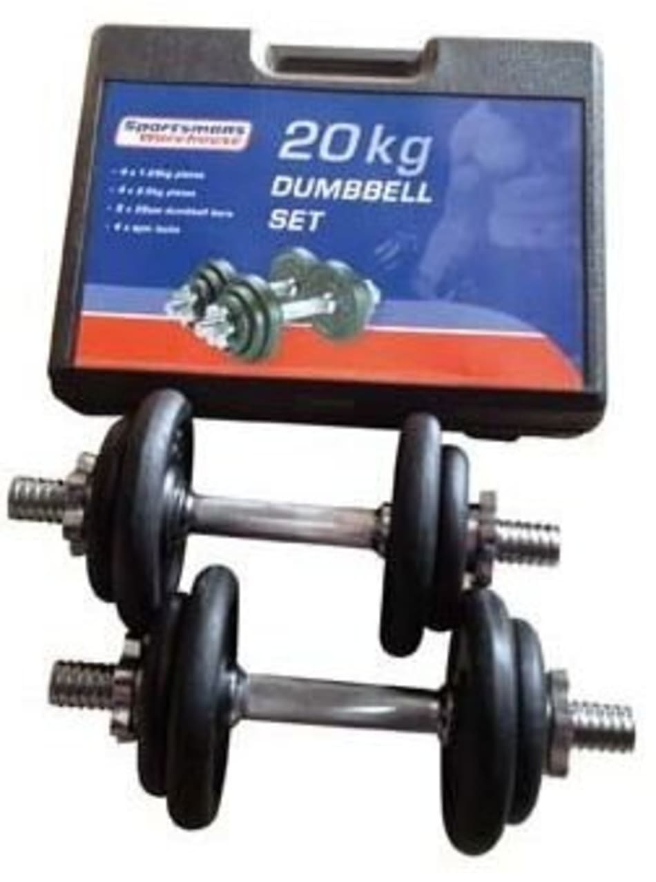Body Sculpture 20kg Dumbbell Set with Plastic Case, product, variation 2