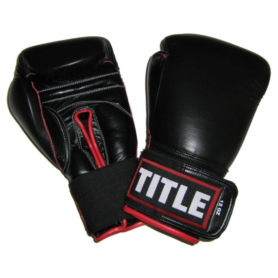 Title Leather Sparring Gloves 12oz  Black/Red Trim, product, variation 1