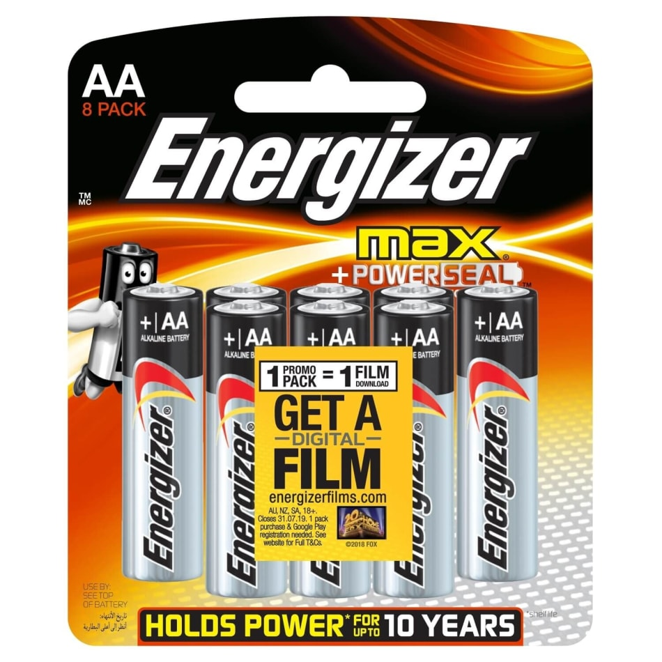 Energizer Max Alkaline AA 8 Pack Batteries, product, variation 1
