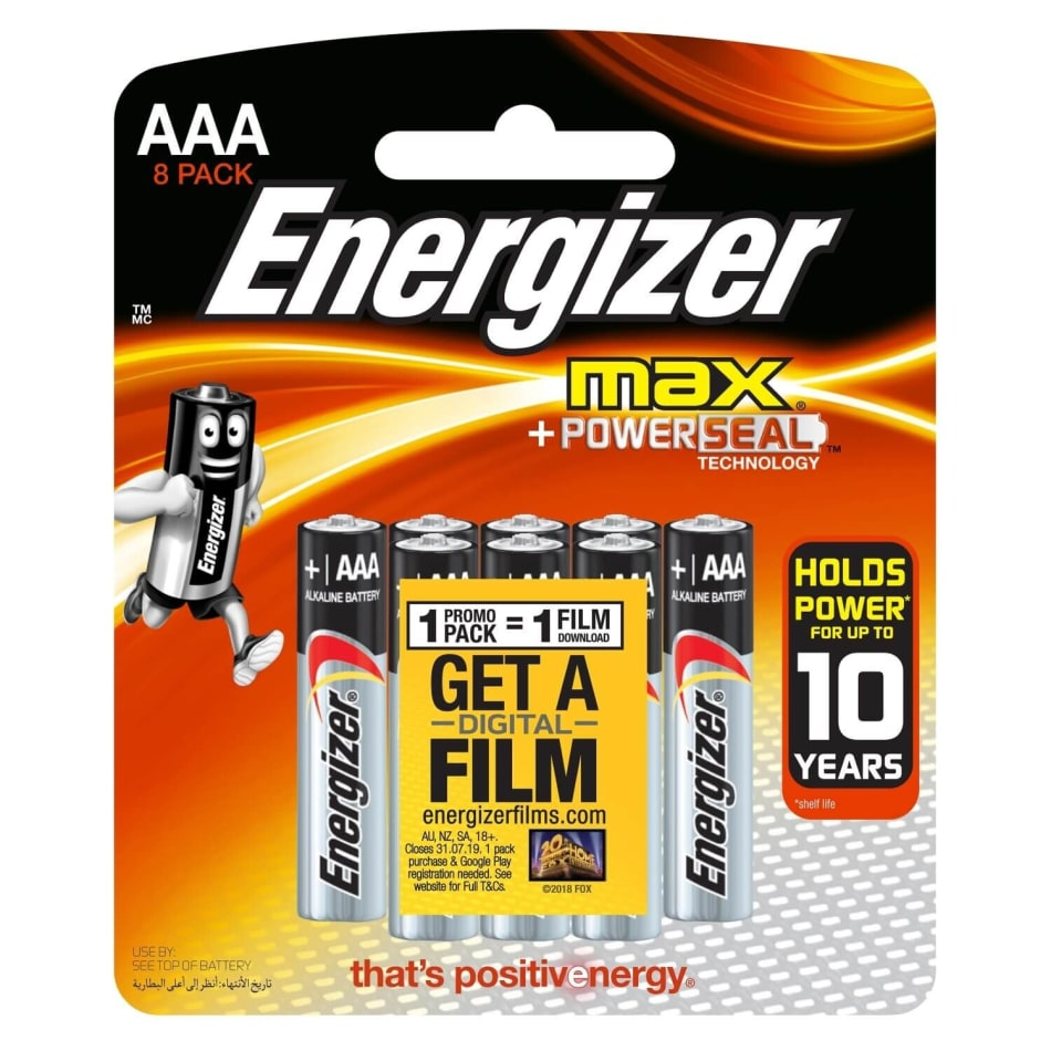 Energizer Max Alkaline AAA 8 Pack Batteries, product, variation 1