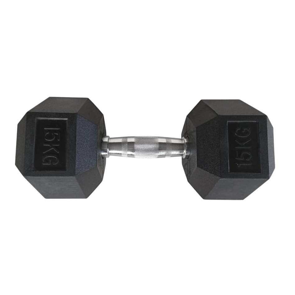 HS Fitness 15kg Rubber Hex Dumbbell, product, variation 1