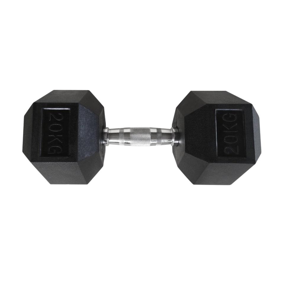 HS Fitness 20kg Rubber Hex Dumbbell, product, variation 1