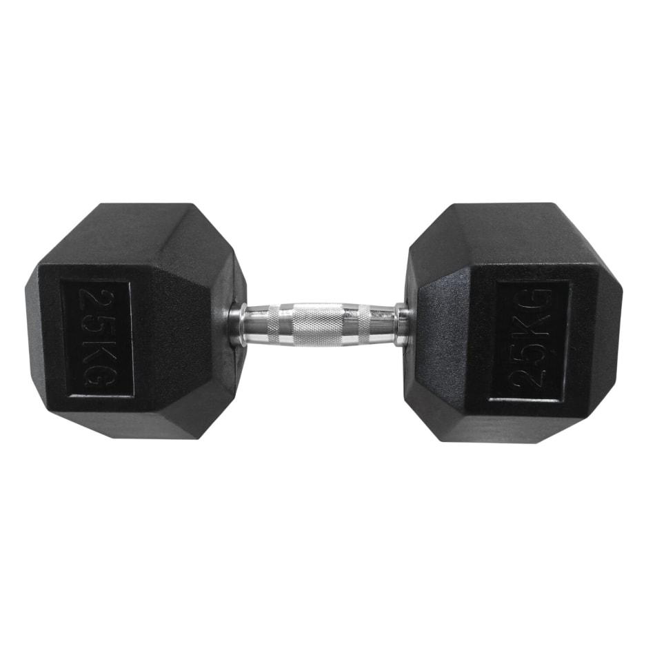 HS Fitness 25kg Rubber Hex Dumbell, product, variation 1
