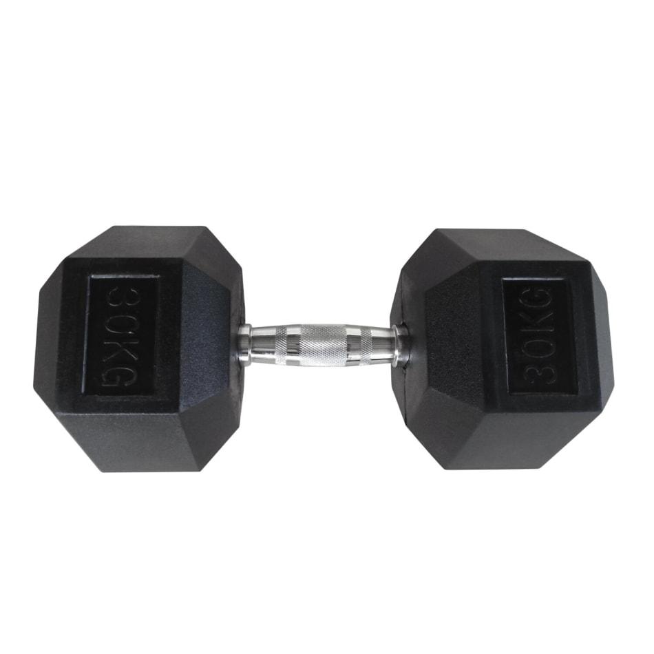 HS Fitness 30kg Rubber Hex Dumbbell, product, variation 1