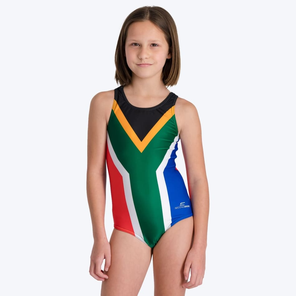 Second Skins Girls South African Flag Swimming 1 Piece, product, variation 1