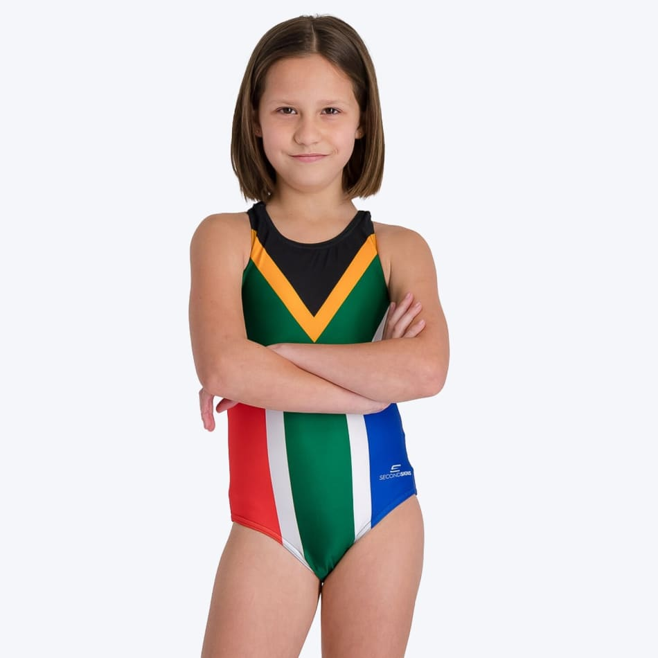 Second Skins Girls South African Flag Swimming 1 Piece, product, variation 2