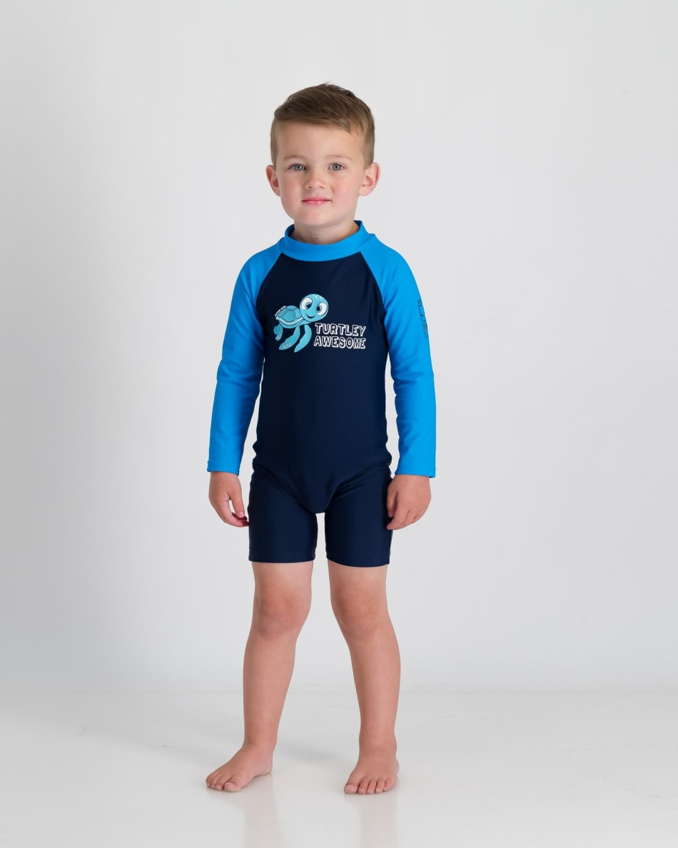Second Skins BoysTurtley Awesome Long Sleeve Sunsuit, product, variation 1