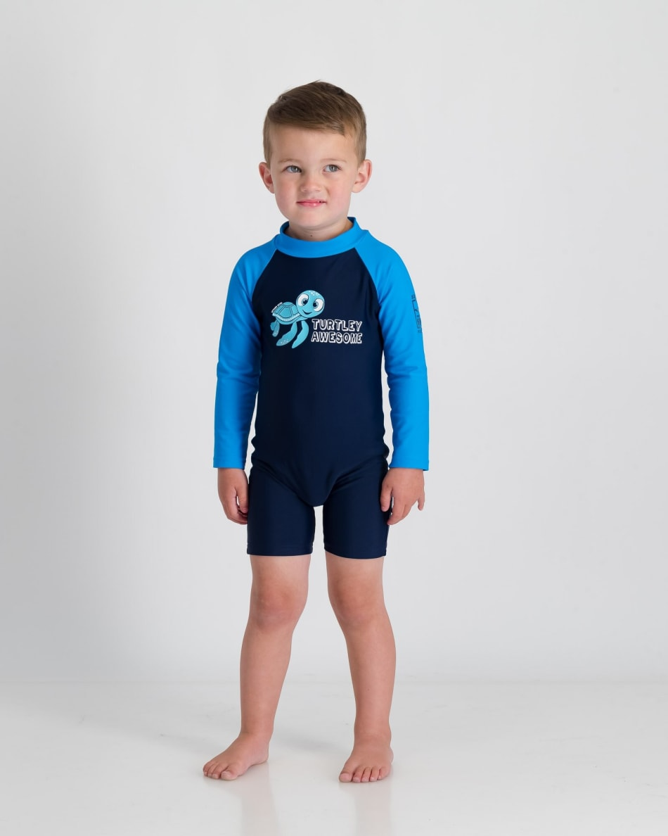 Second Skins BoysTurtley Awesome Long Sleeve Sunsuit, product, variation 2